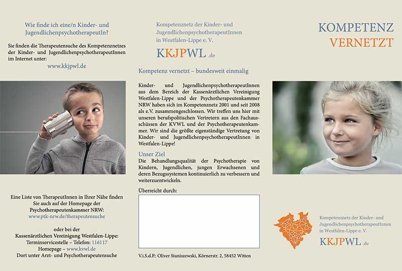 Flyer Kompetenznetz der Kinder- und JugendlichenpsychotherapeutInnen in Westfalen-Lippe e.V.